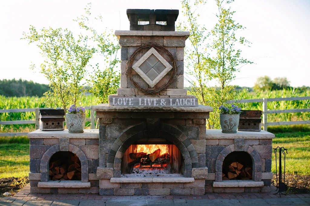 Brick Fireplace design project installed at Abbey Farms
